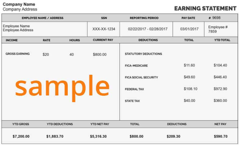 Sample Pay Stub  Paystub Template Free