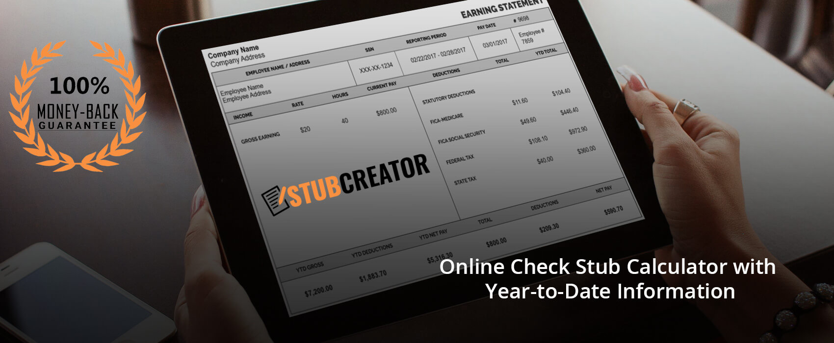 online check stub calculator with year to date information stub