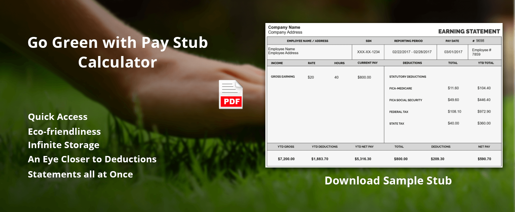 go green with pay stub calculator stub creator